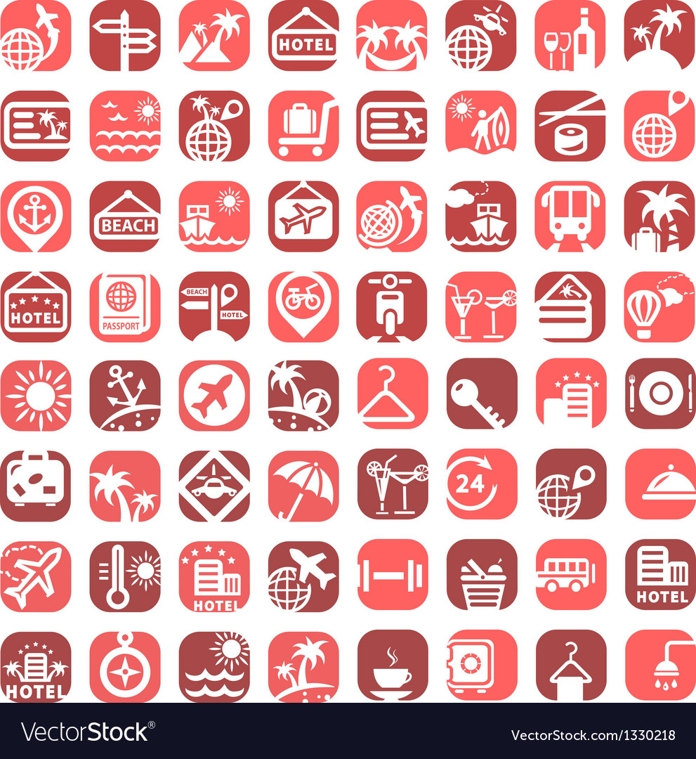 Big color travel icons vector | Price: 1 Credit (USD $1)