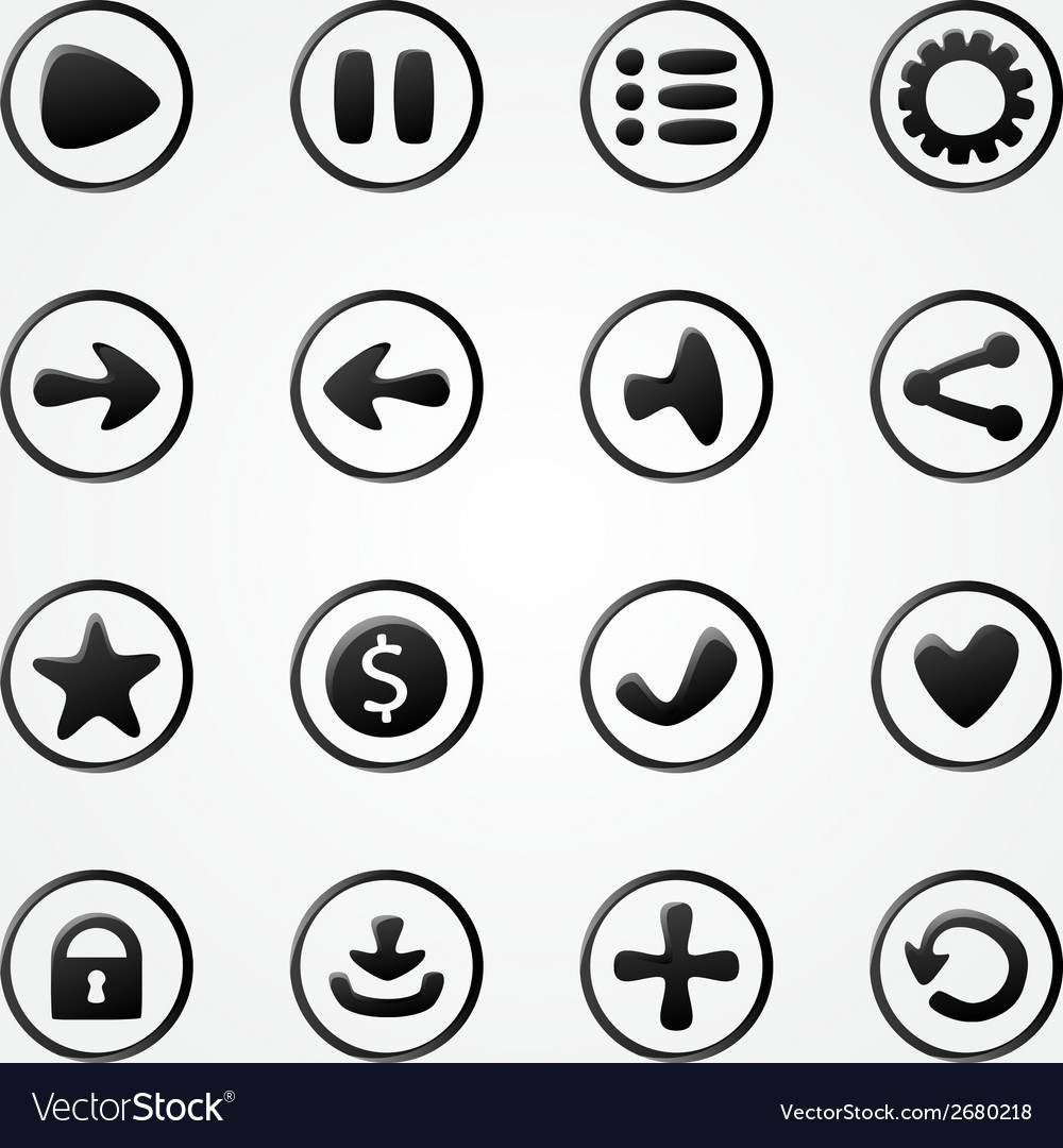 Black mobile elements for ui game - a set game vector | Price: 1 Credit (USD $1)