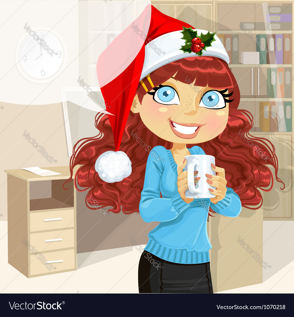 Business woman in christmas morning office vector | Price: 5 Credit (USD $5)
