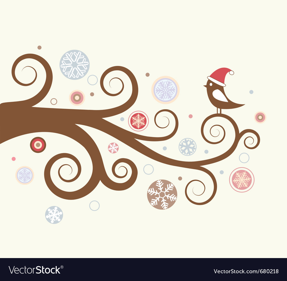 Christmas card bird vector | Price: 1 Credit (USD $1)