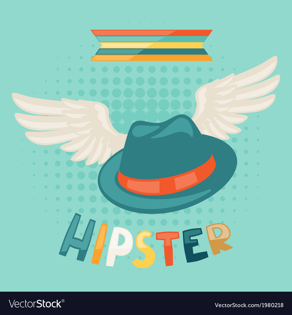 Design with hat and wings in hipster style vector | Price: 1 Credit (USD $1)