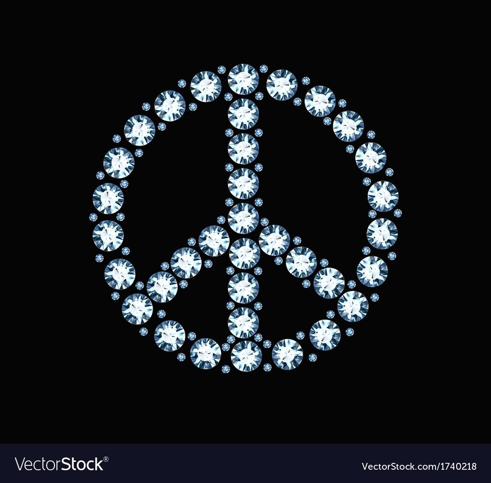 Diamond peace symbol vector | Price: 1 Credit (USD $1)