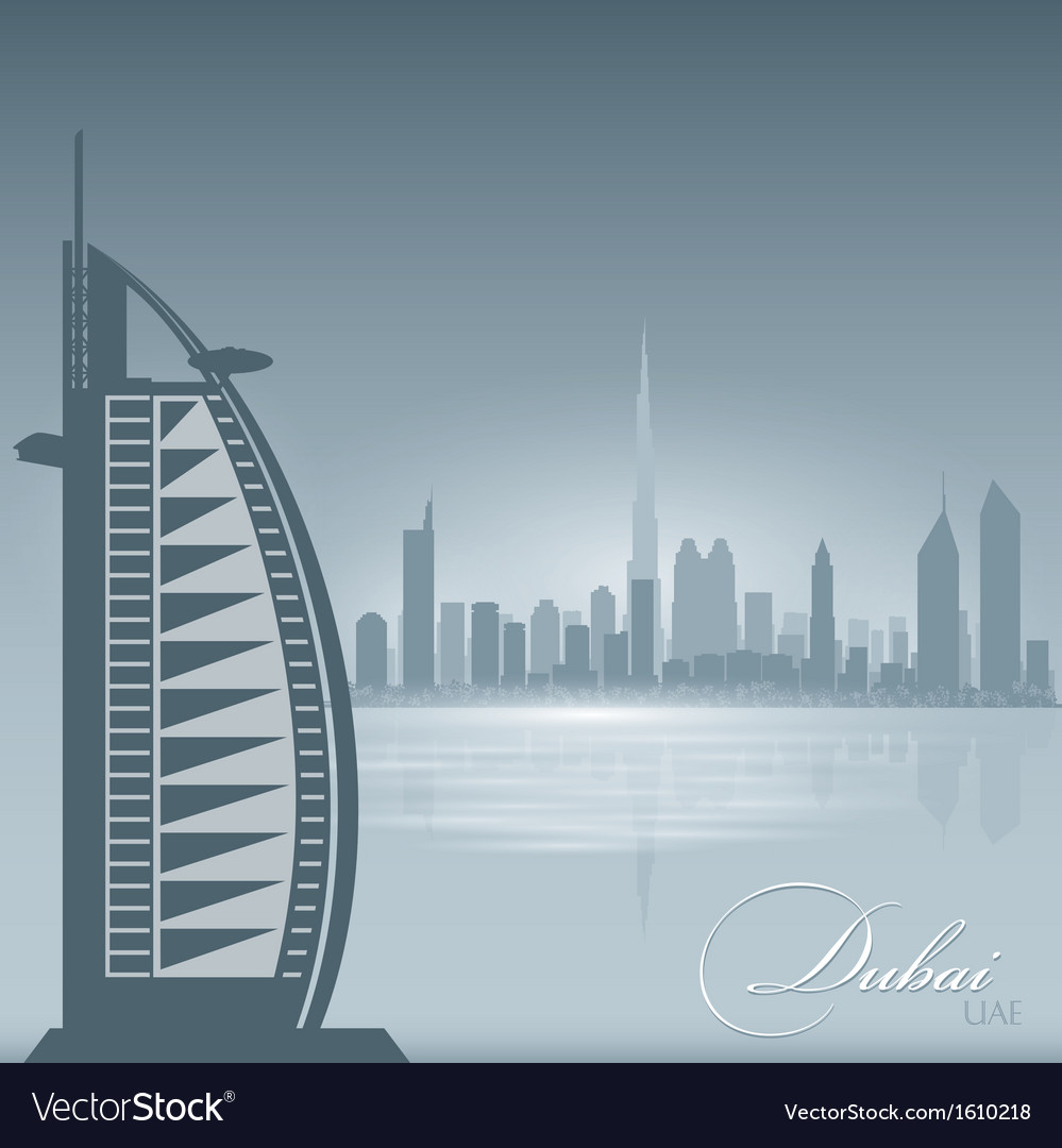 Dubai uae skyline city silhouette background vector | Price: 1 Credit (USD $1)