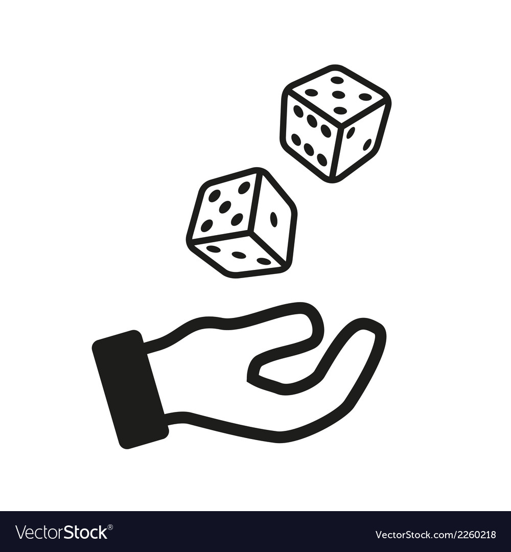 Male hand rolling dice isolated on white vector | Price: 1 Credit (USD $1)