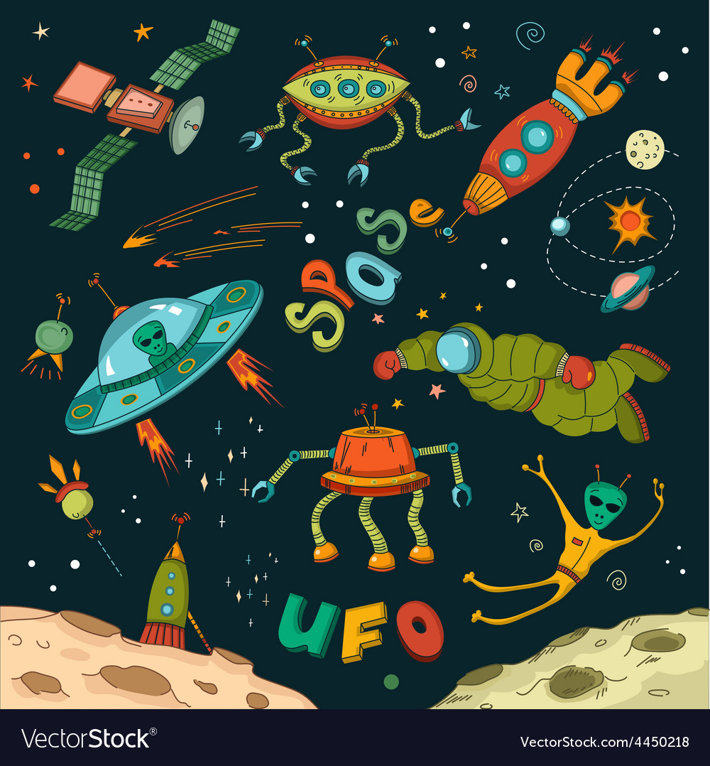 Outer space design elements vector | Price: 1 Credit (USD $1)