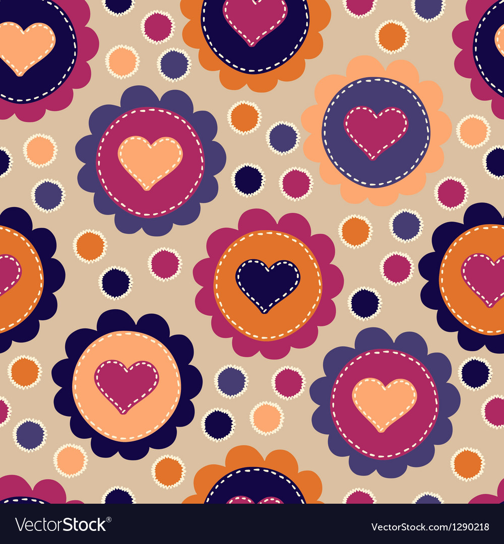 Seamless pattern with embroidered hearts vector | Price: 1 Credit (USD $1)