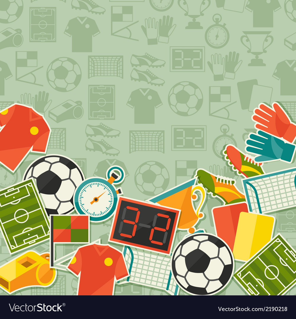 Sports background with soccer football sticker vector | Price: 1 Credit (USD $1)