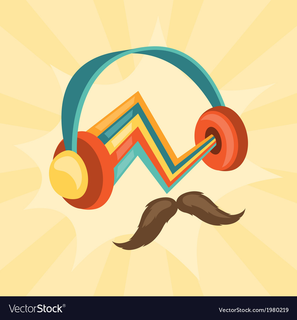 Design with headphones and mustache in hipster vector | Price: 1 Credit (USD $1)