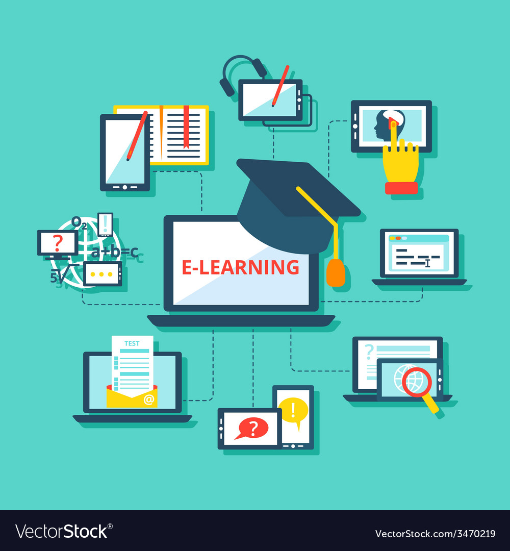 E-learning icons flat vector | Price: 1 Credit (USD $1)