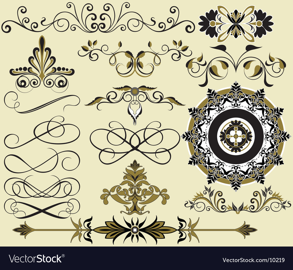 Floral elements for design vector | Price: 3 Credit (USD $3)