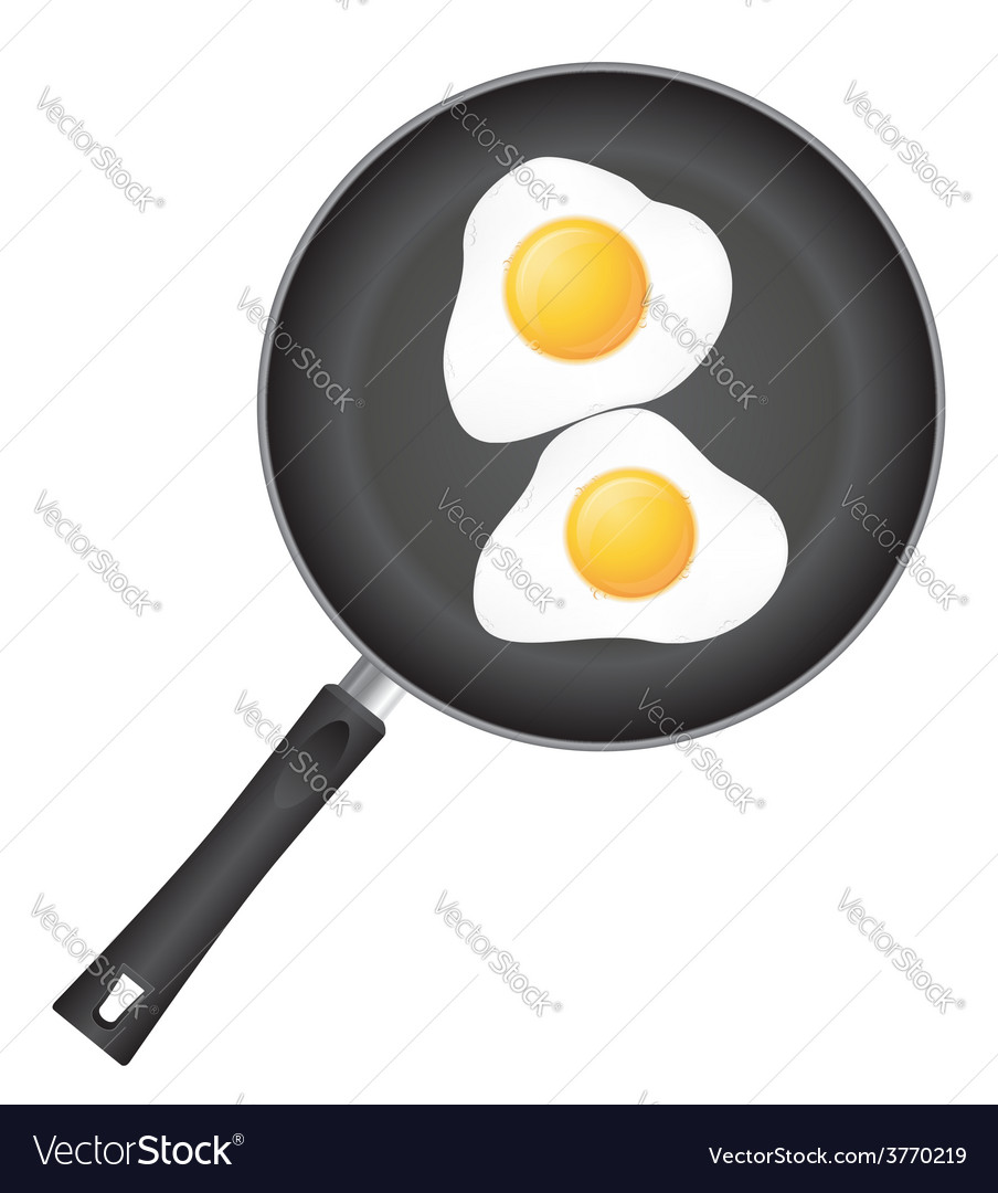 Fried eggs in a frying pan 01 vector | Price: 1 Credit (USD $1)