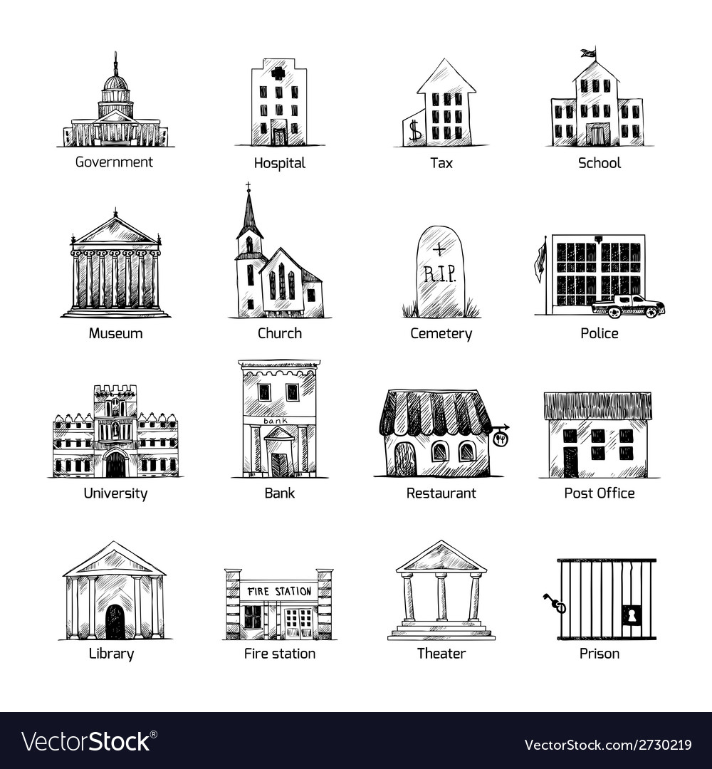 Government building icons set vector | Price: 1 Credit (USD $1)