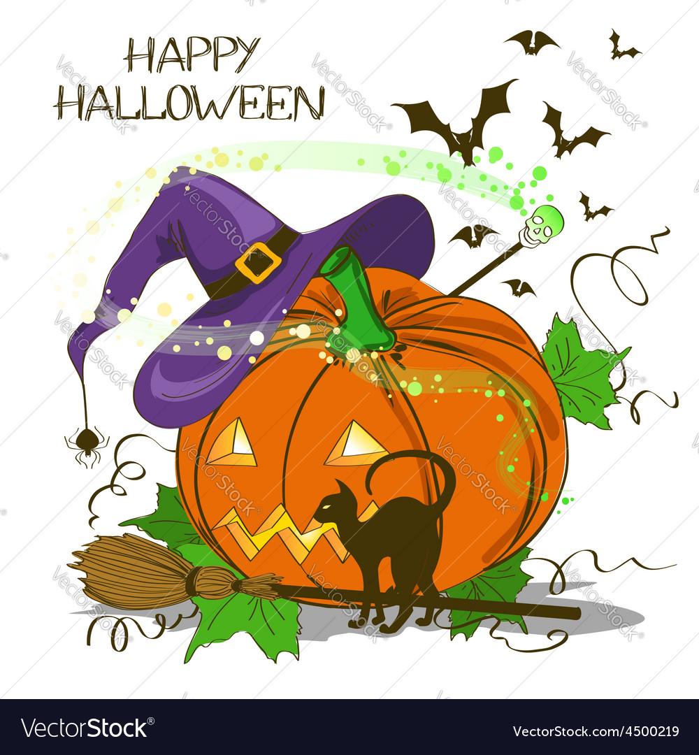 Halloween card with pumpkin vector | Price: 1 Credit (USD $1)