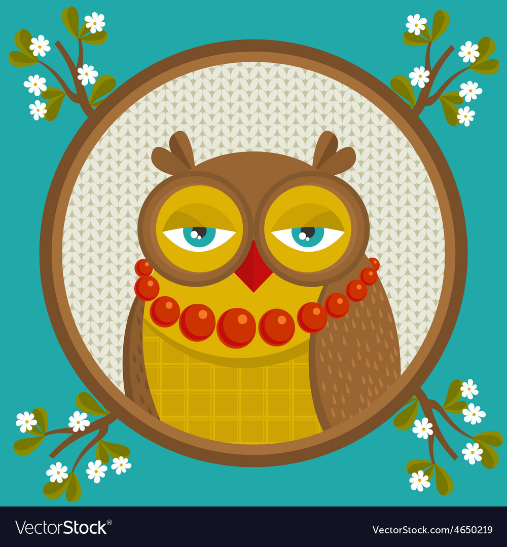 Portrait of fashionable owl in the frame with vector | Price: 1 Credit (USD $1)