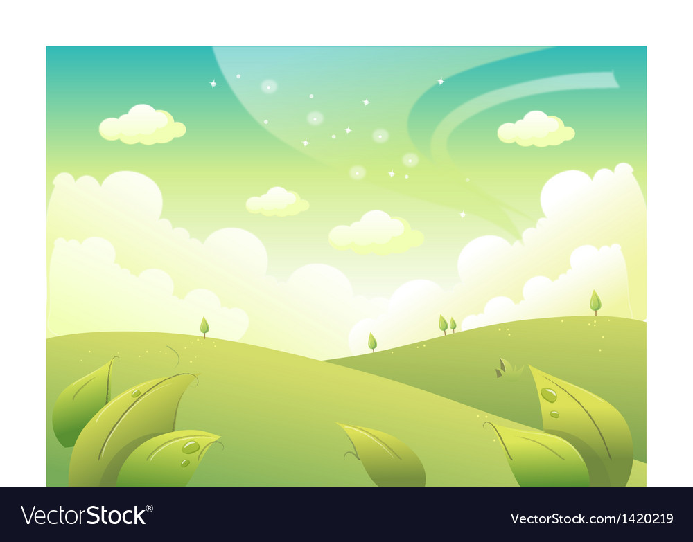 Rolling landscape and sky vector | Price: 1 Credit (USD $1)