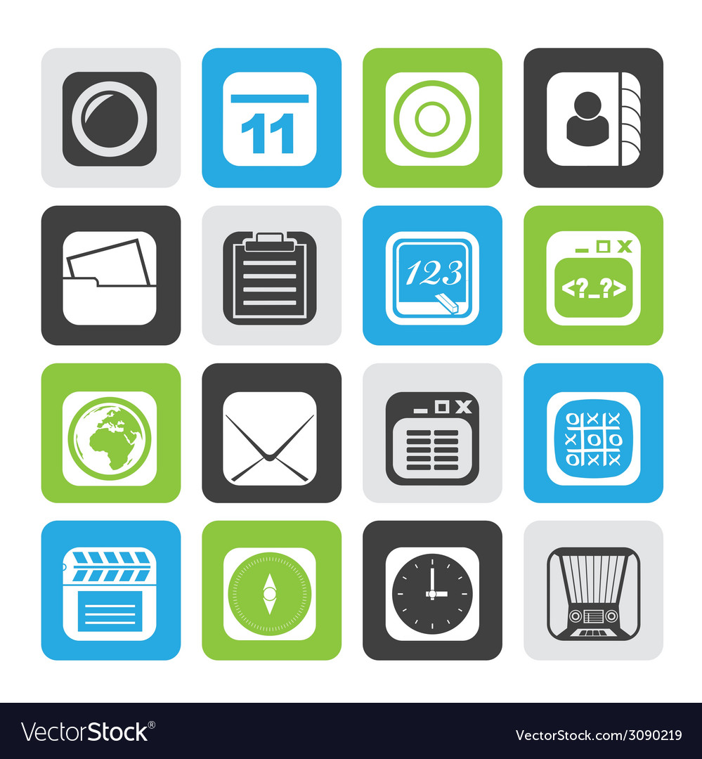 Silhouette mobile phone and communication icons vector   Price: 1 Credit (USD $1)