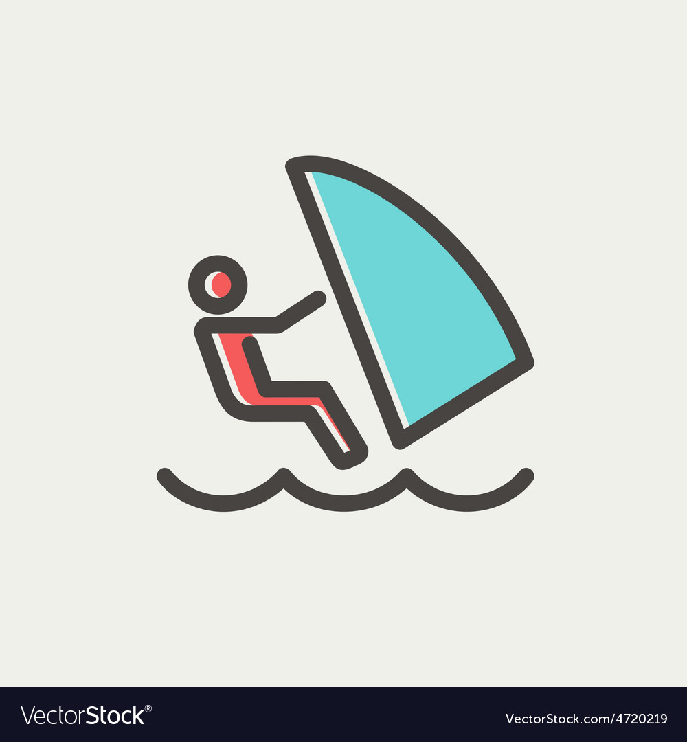 Wind surfing thin line icon vector   Price: 1 Credit (USD $1)