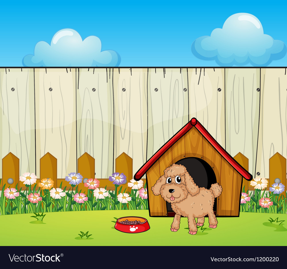 A dog with a dog house inside the fence vector   Price: 1 Credit (USD $1)