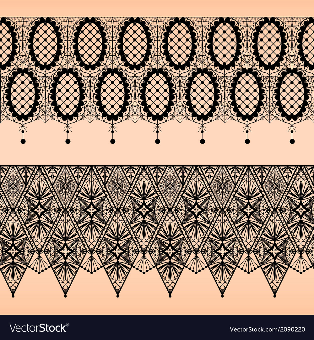 Abstract seamless fabric black lace pattern vector | Price: 1 Credit (USD $1)