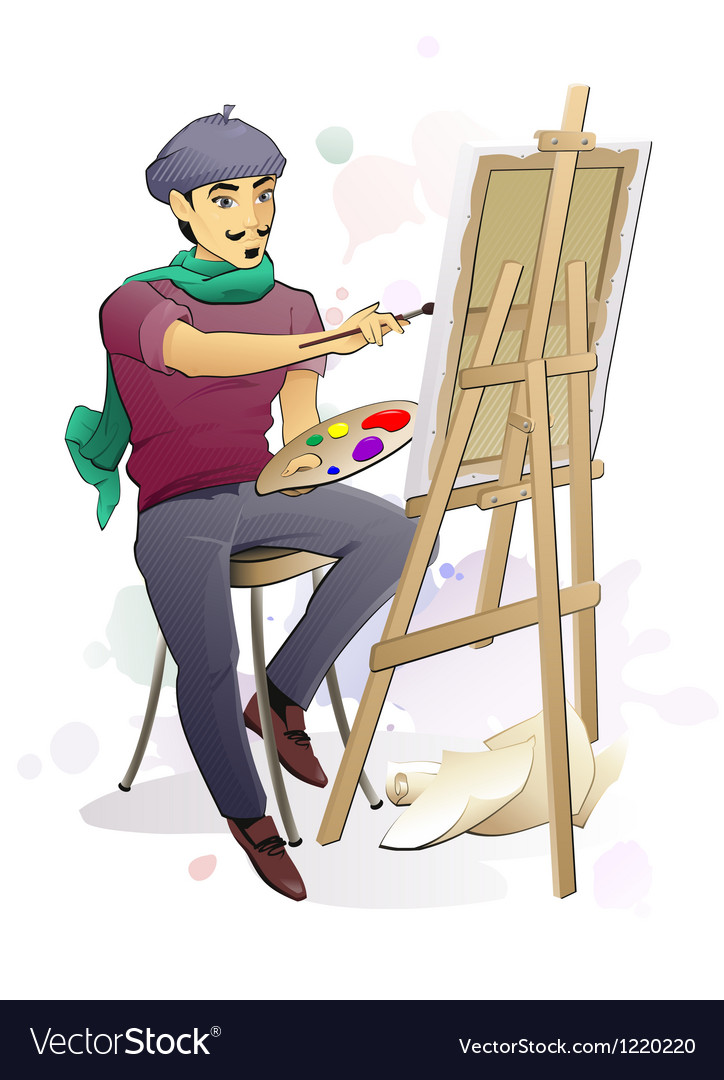 Artist at work vector | Price: 3 Credit (USD $3)