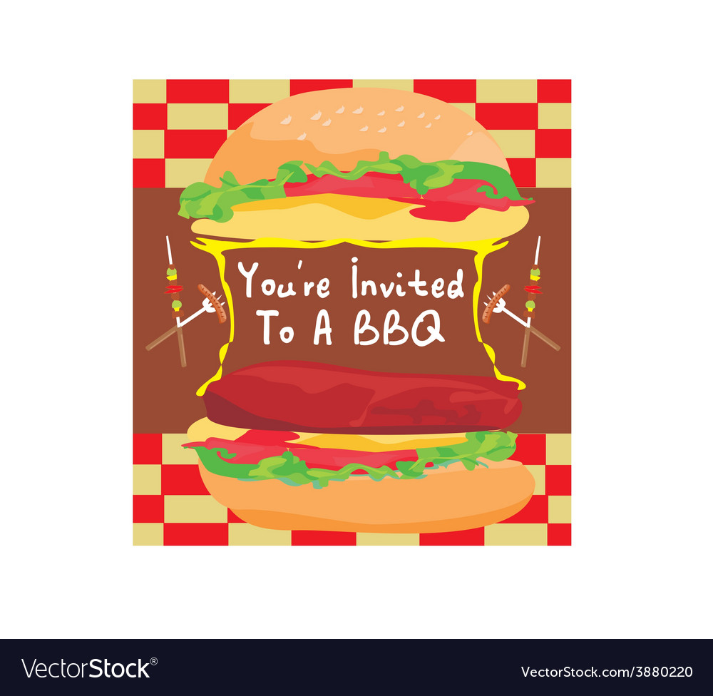 Bbq party big burger invitation vector | Price: 1 Credit (USD $1)