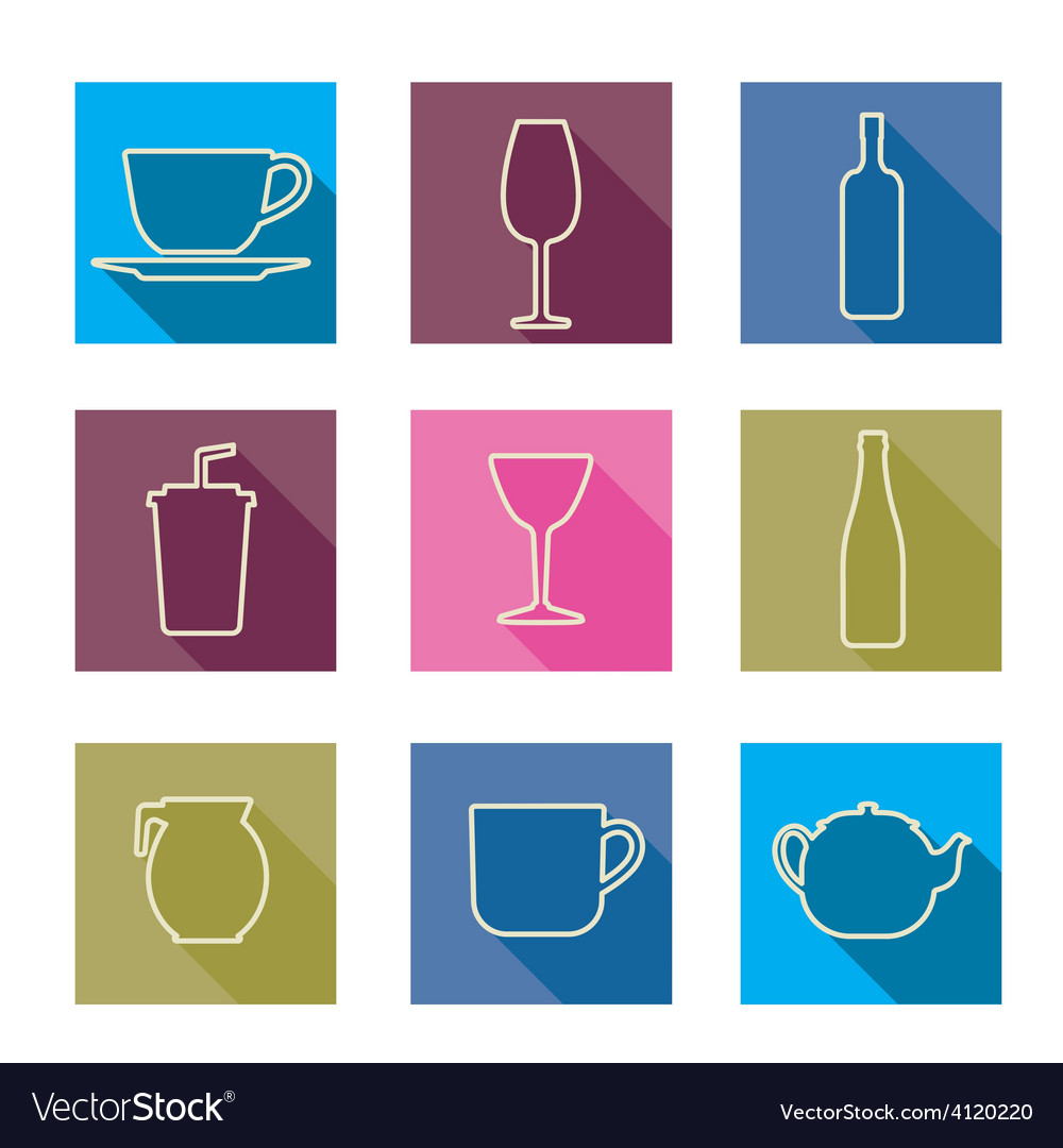 Bottle cup glass collection line silhouette vector | Price: 1 Credit (USD $1)