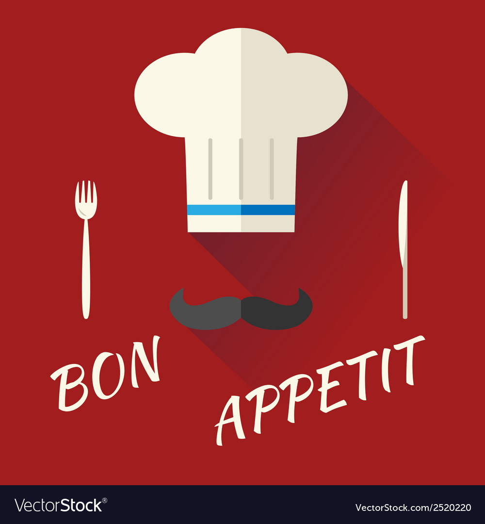 Chief cook symbol toque cuisine hat with mustache vector | Price: 1 Credit (USD $1)