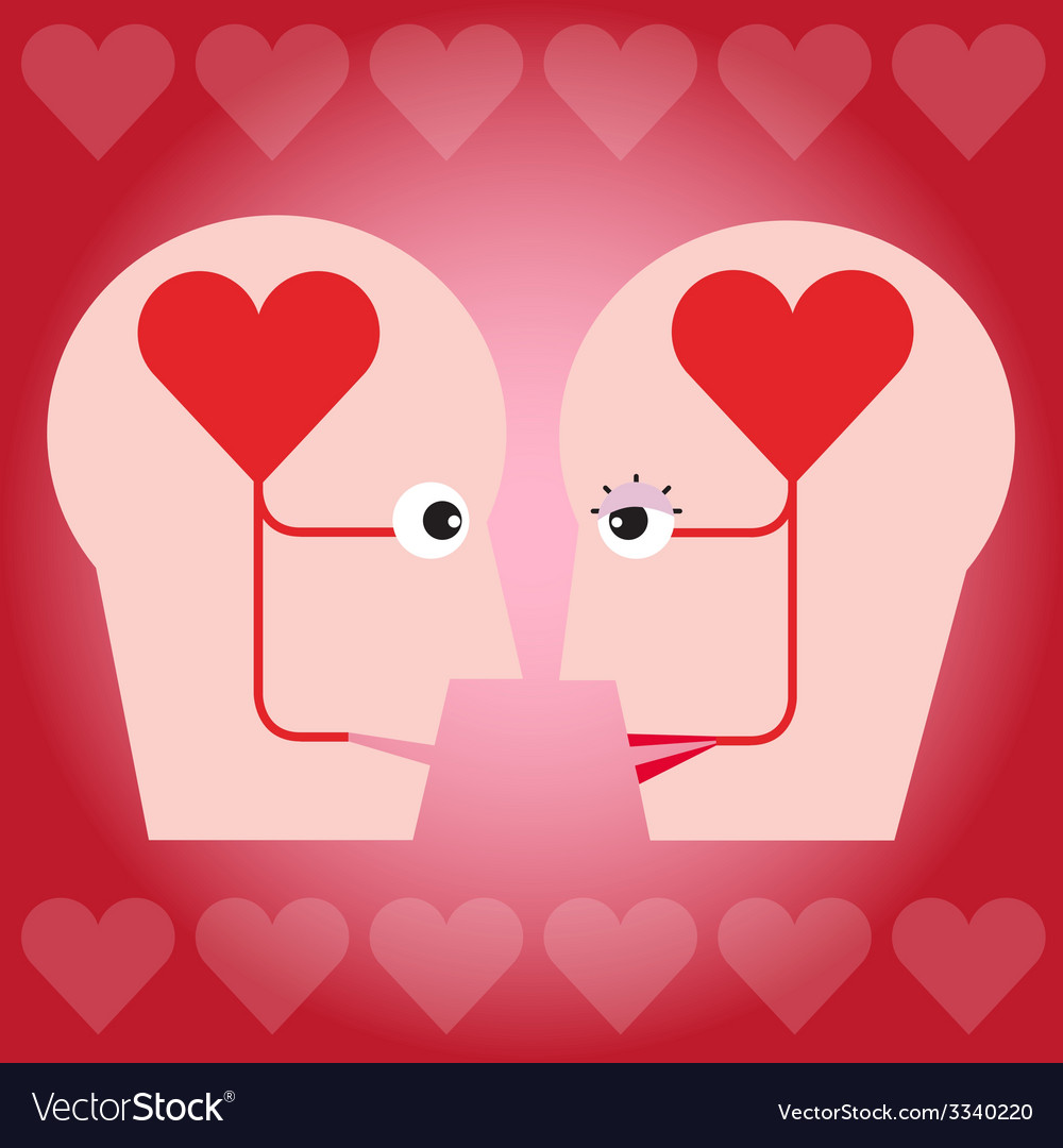 The couple with heart in head concept vector | Price: 1 Credit (USD $1)
