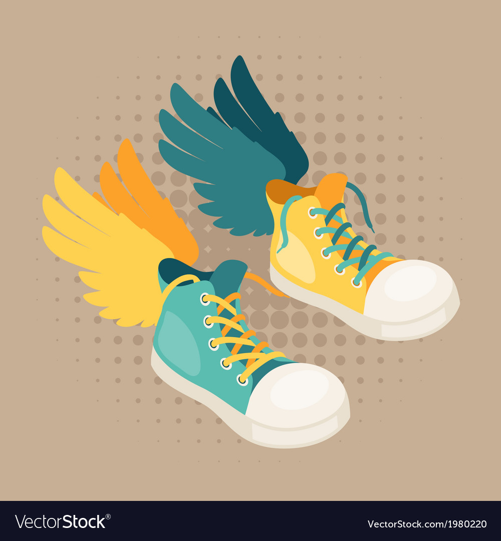 Design with sneakers and wings in hipster style vector | Price: 1 Credit (USD $1)