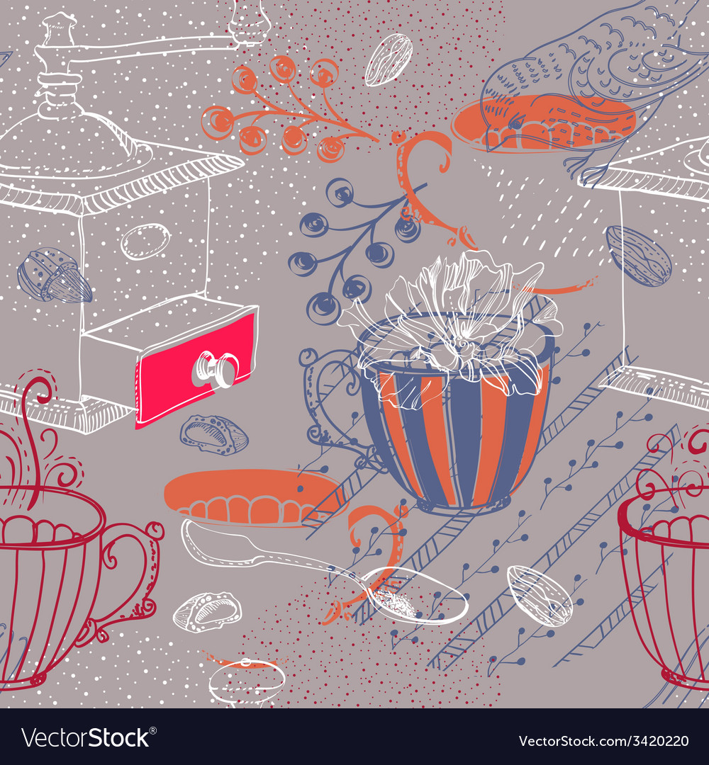 Doodle background with coffee mill flowers and vector | Price: 1 Credit (USD $1)