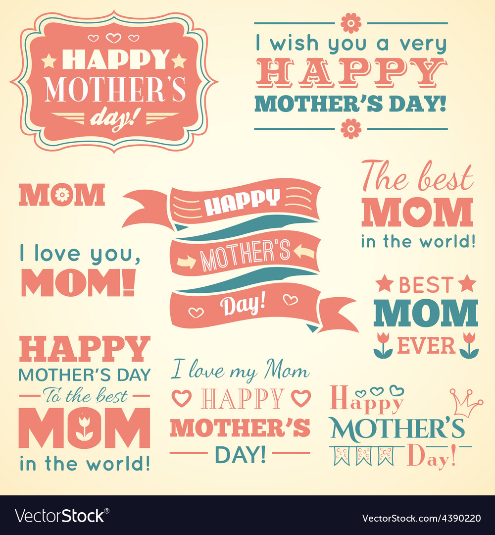 Happy mothers day set of cute elements vector | Price: 1 Credit (USD $1)