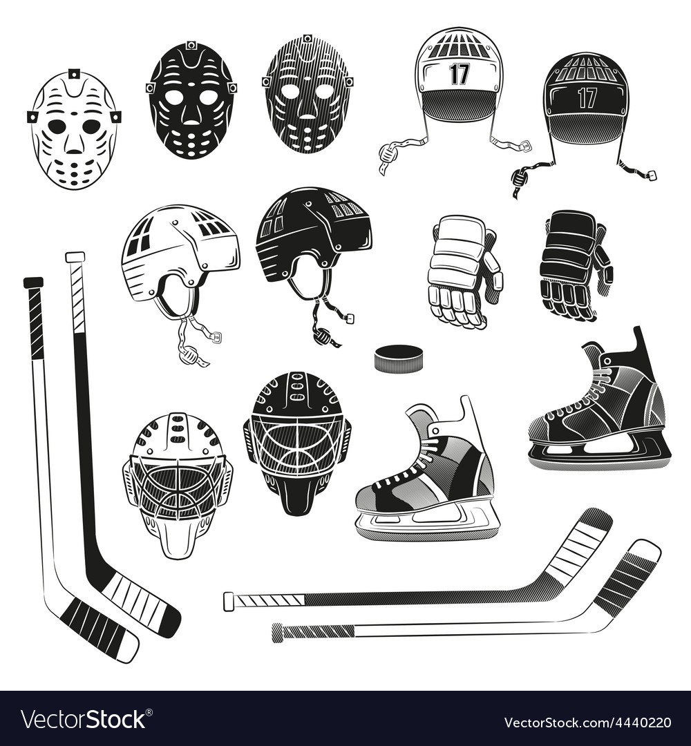 Hockey objects as silhouettes vector