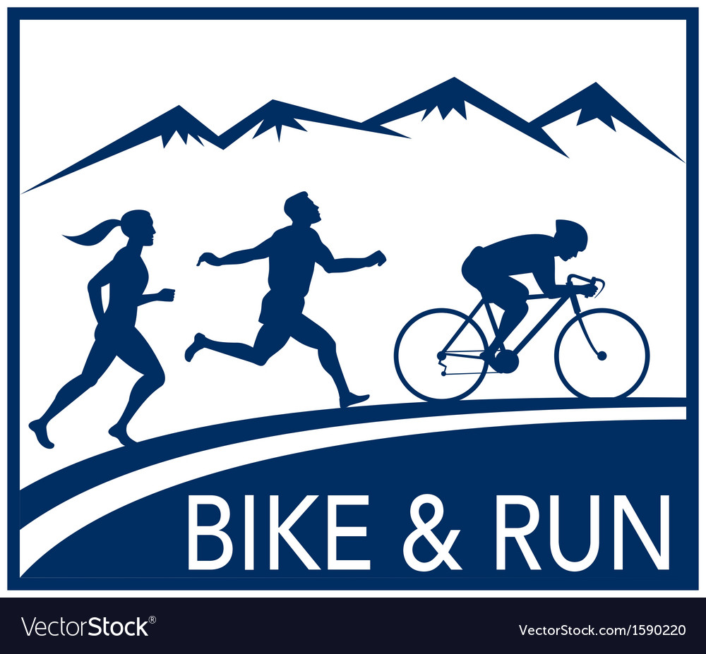 Marathon runner bike cycle run race vector | Price: 1 Credit (USD $1)