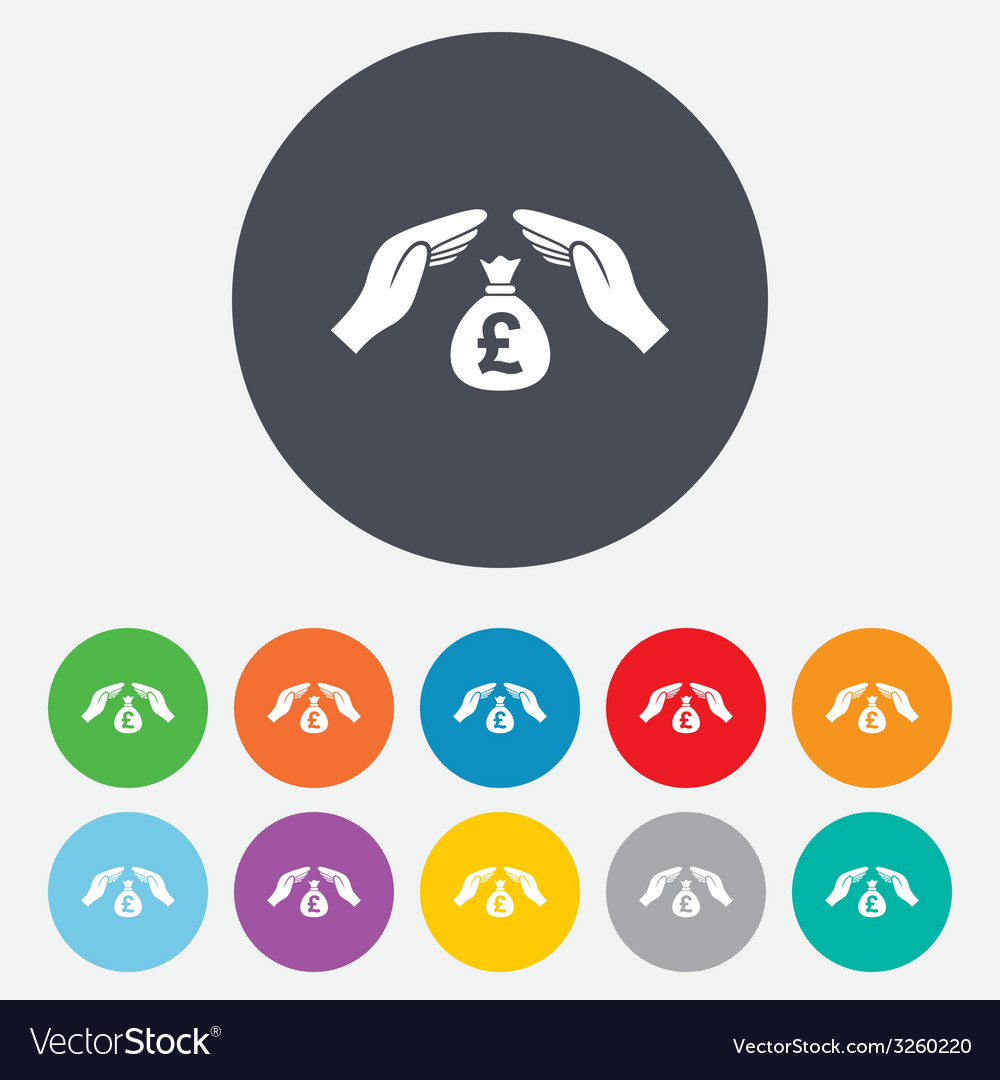 Protection money sign icon hands protect cash vector   Price: 1 Credit (USD $1)