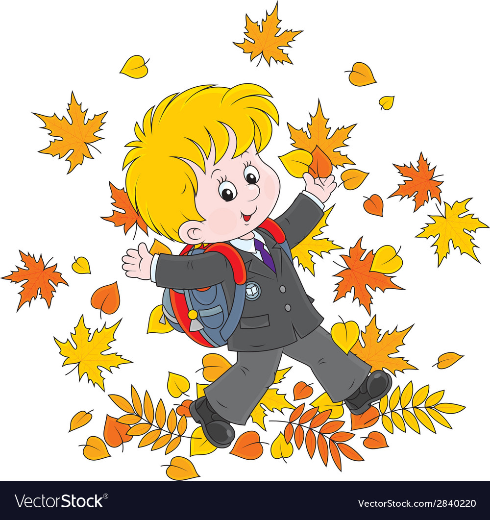 Schoolboy with autumn leaves vector | Price: 1 Credit (USD $1)