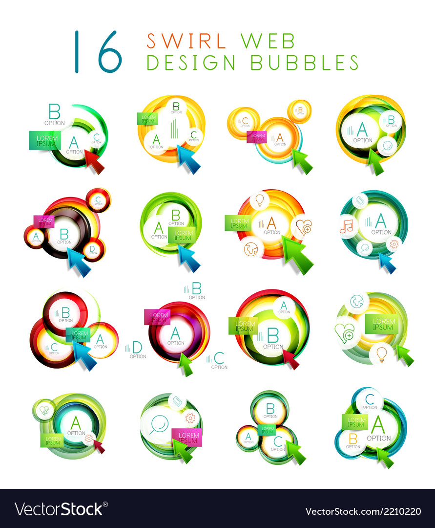 Set of swirl web design infographic bubbles vector | Price: 1 Credit (USD $1)