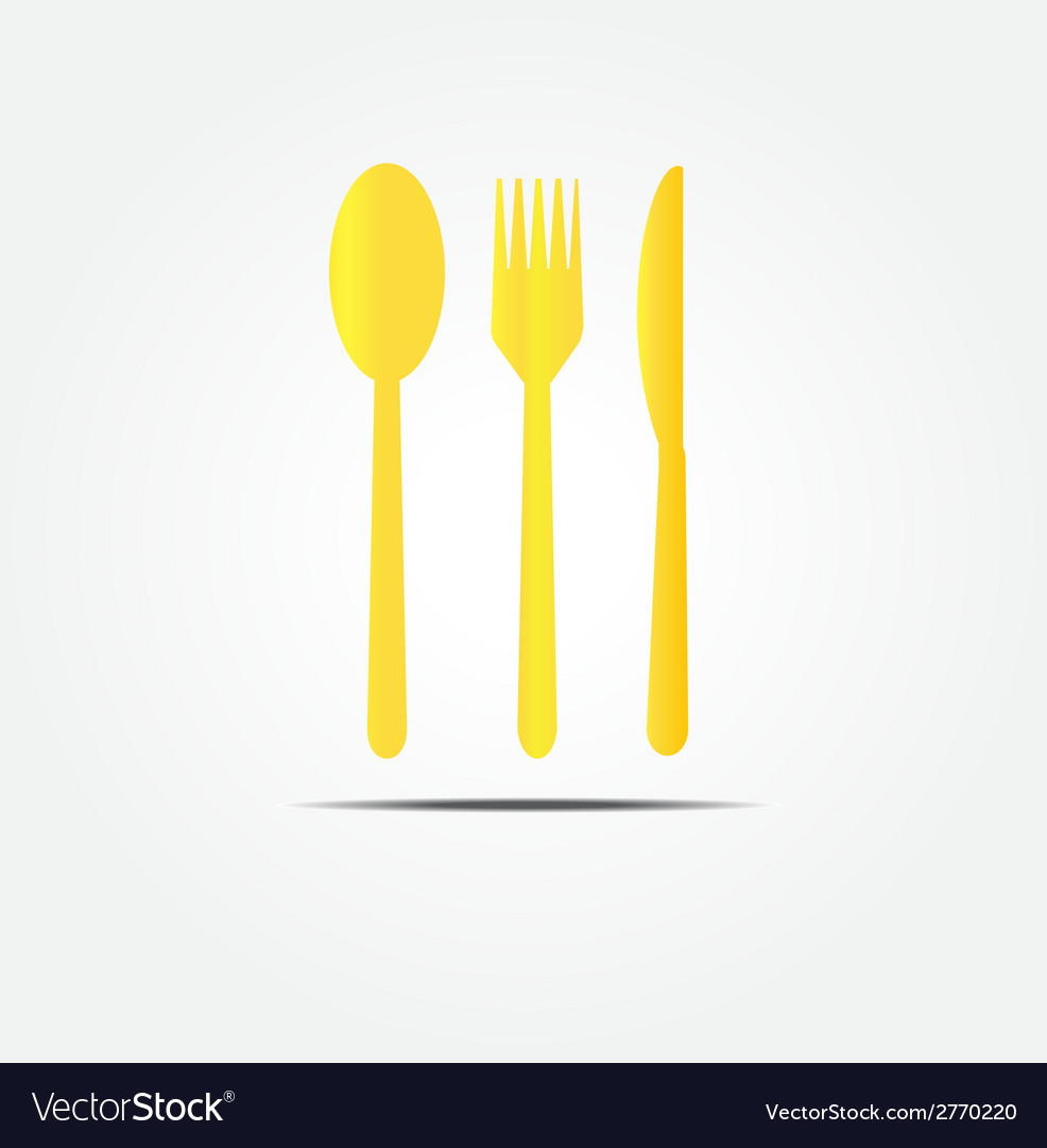 Spoon fork and knife gold set vector | Price: 1 Credit (USD $1)