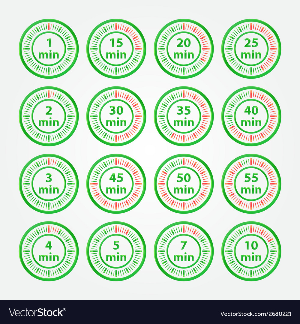 Abstract set of timers - green timer icons vector | Price: 1 Credit (USD $1)