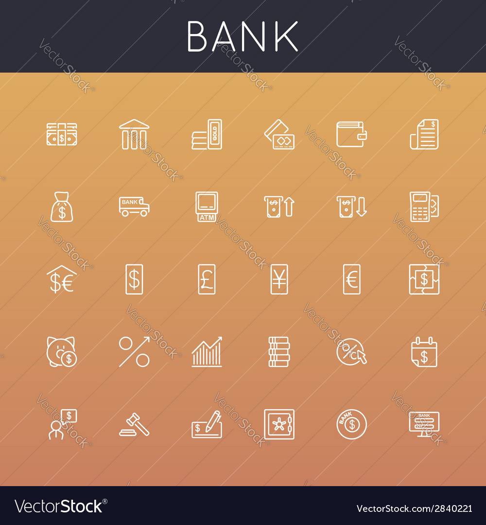 Bank line icons vector | Price: 1 Credit (USD $1)