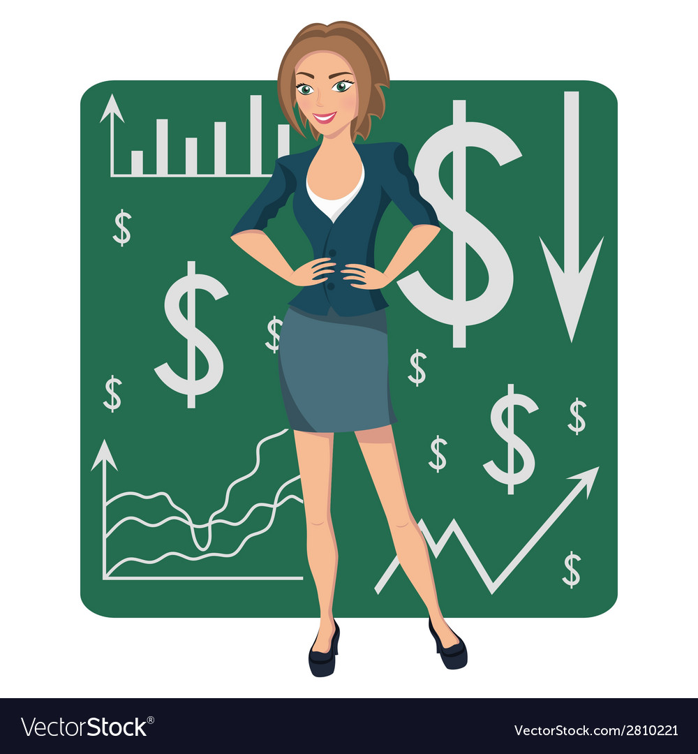 Brown-haired business woman vector | Price: 1 Credit (USD $1)