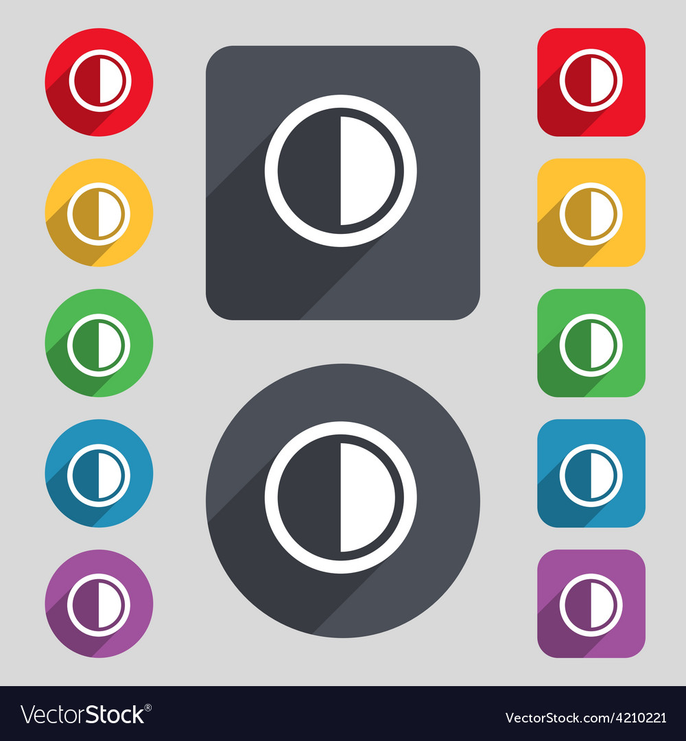 Contrast icon sign a set of 12 colored buttons and vector | Price: 1 Credit (USD $1)