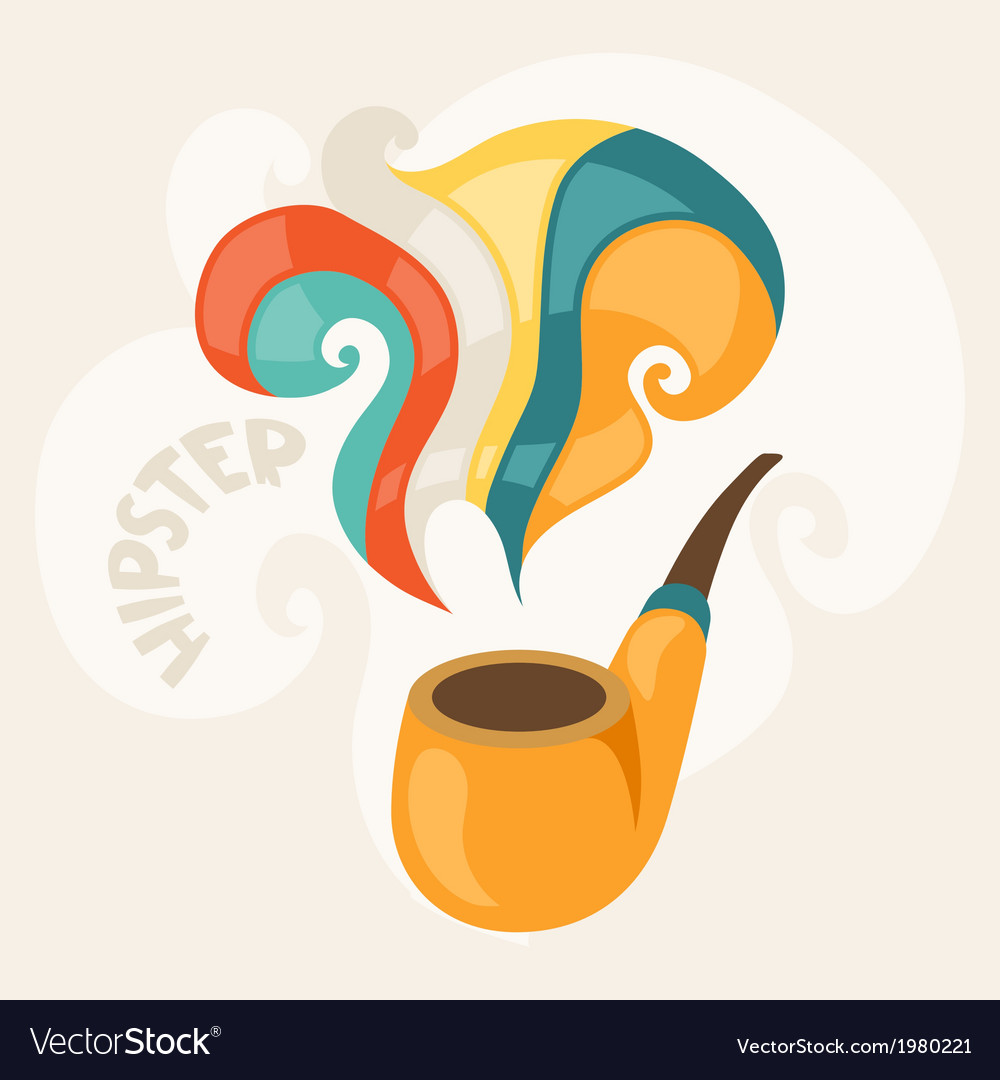 Design with smoking pipe in hipster style vector | Price: 1 Credit (USD $1)