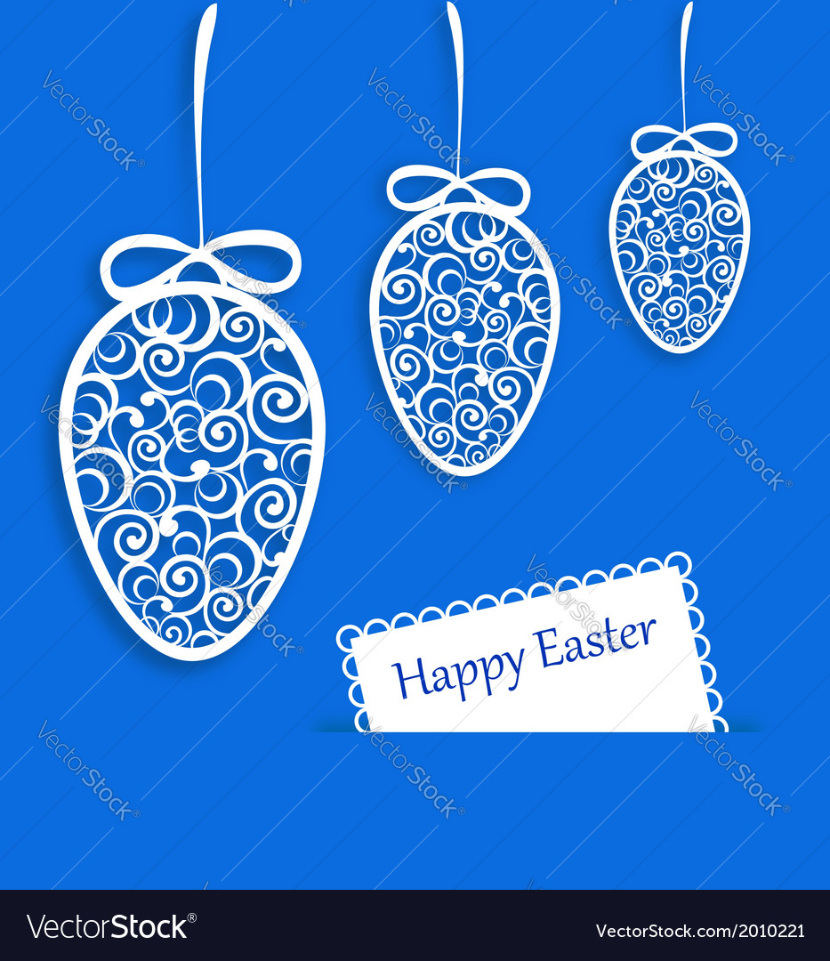 Elegant easter eggs and card on blue background vector   Price: 1 Credit (USD $1)