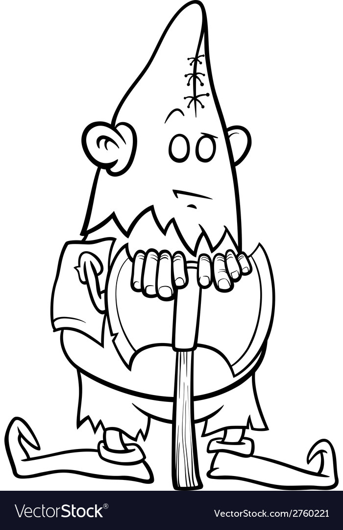 Executioner with ax coloring page vector | Price: 1 Credit (USD $1)
