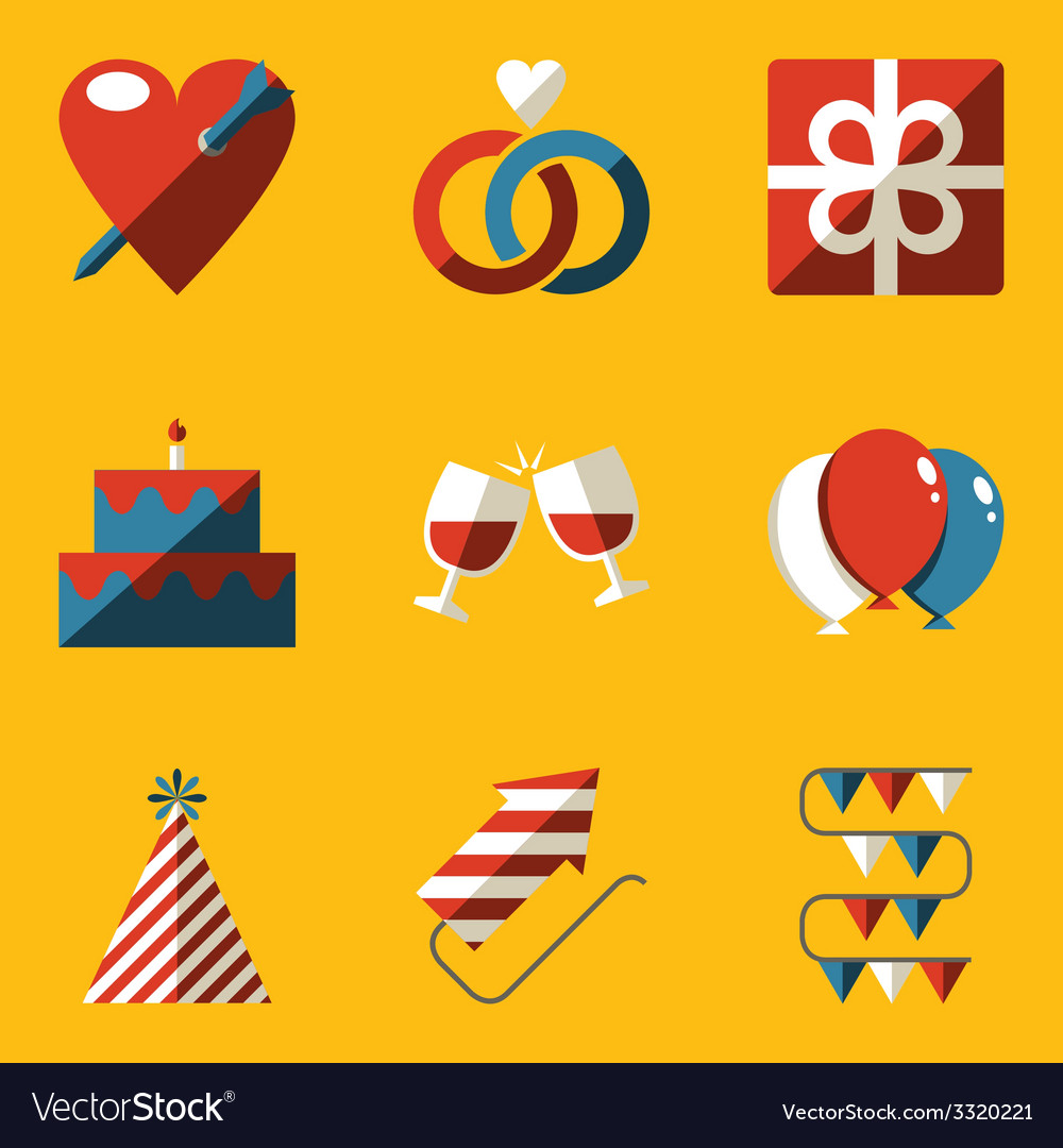 Flat icon set holiday love vector | Price: 1 Credit (USD $1)