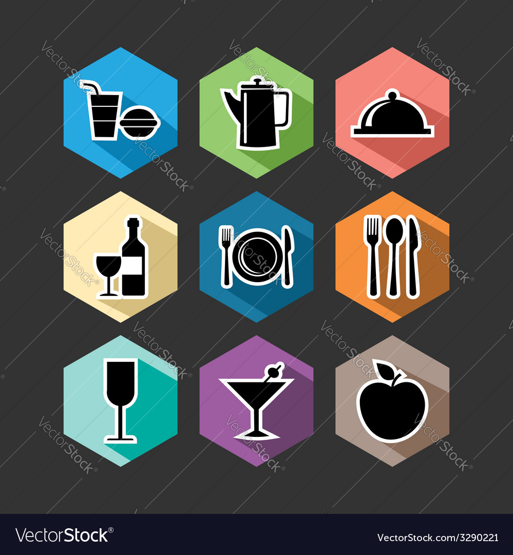 Food flat icons set vector   Price: 1 Credit (USD $1)
