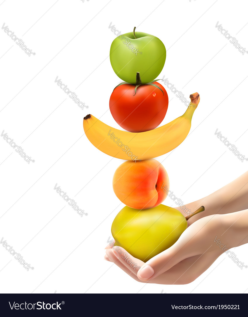 Hands holding a pyramid of healthy fruit diet vector | Price: 1 Credit (USD $1)