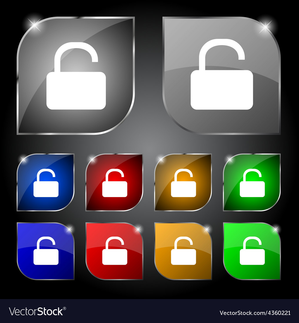 Open padlock icon sign set of ten colorful buttons vector | Price: 1 Credit (USD $1)