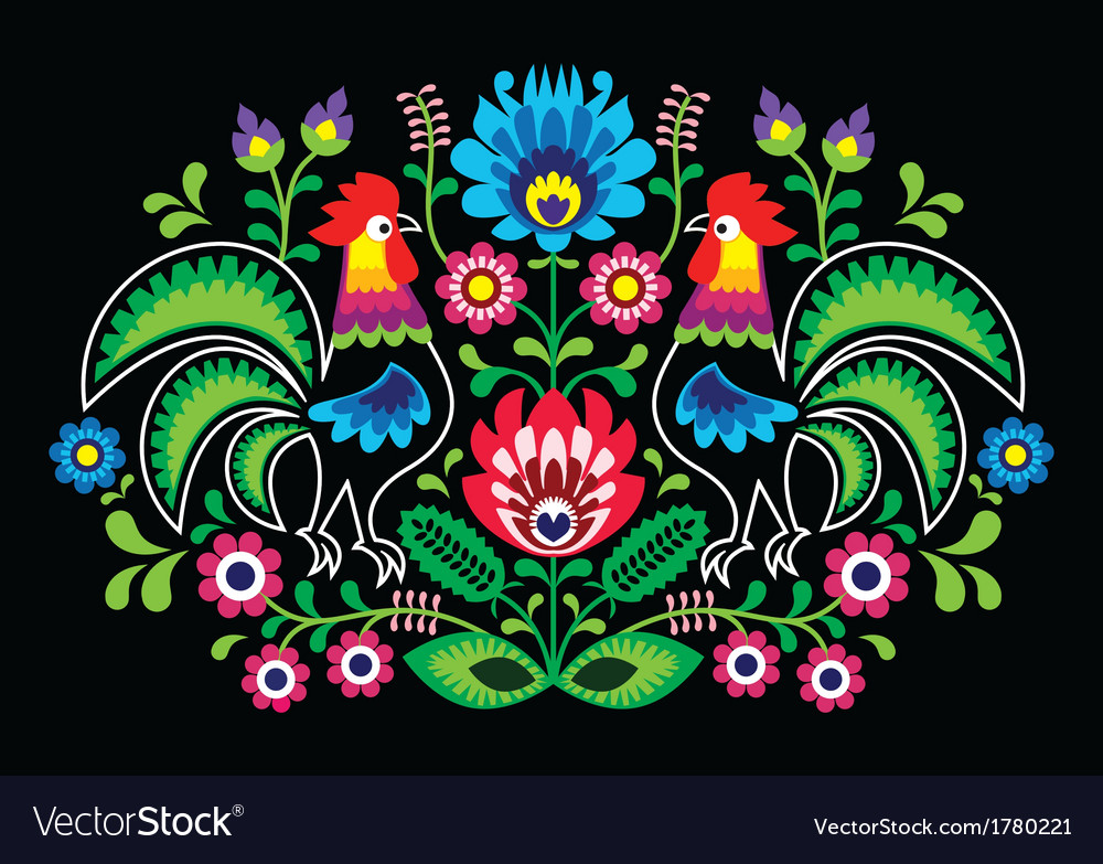 Polish floral embroidery with cocks - traditional vector | Price: 1 Credit (USD $1)