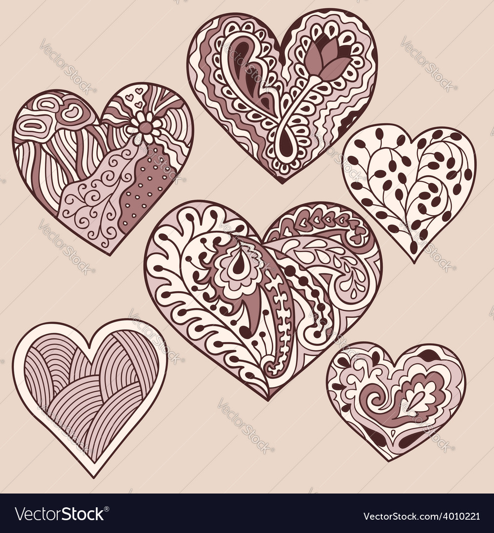 Set of 6 heart drawing vector | Price: 1 Credit (USD $1)
